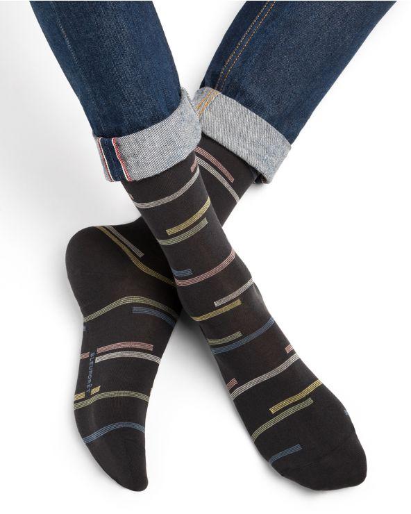 Chaussettes Coton d'Égypte Motif Rayures Décalées