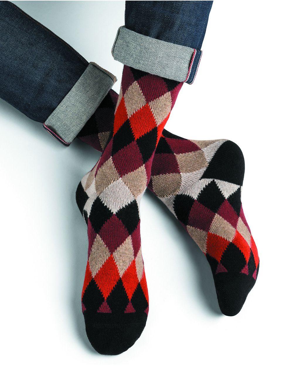 Argyle pattern cashmere wool socks