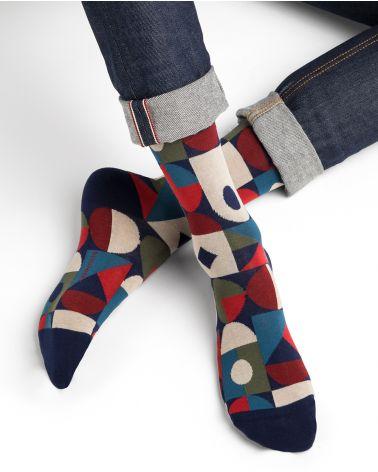 Chaussettes coton motif multi géométrique