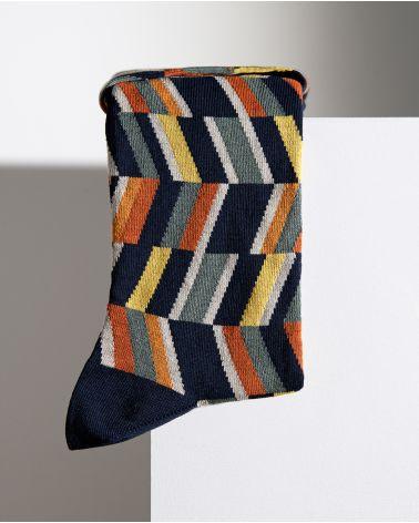 Chaussettes coton motif optiques multlicolores