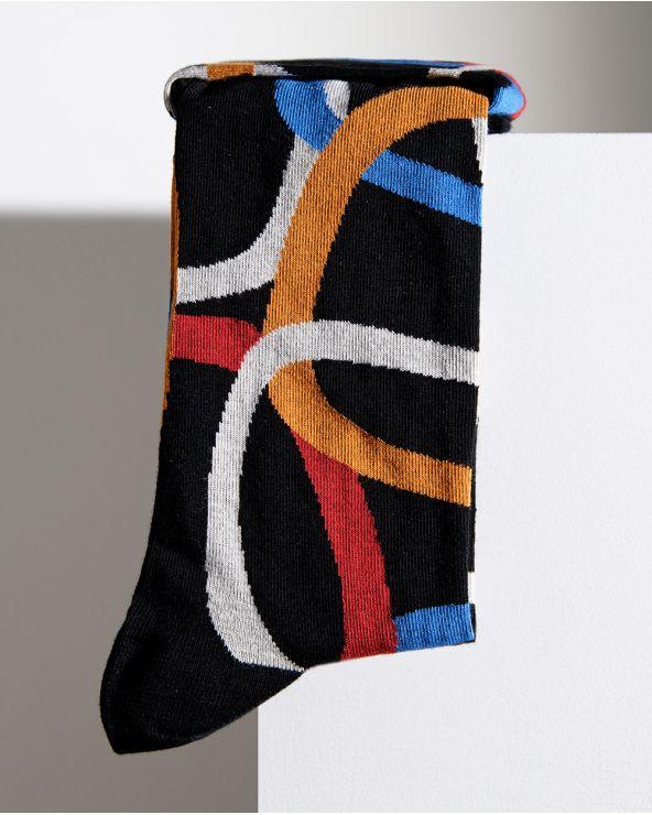 Chaussettes coton motif anneaux