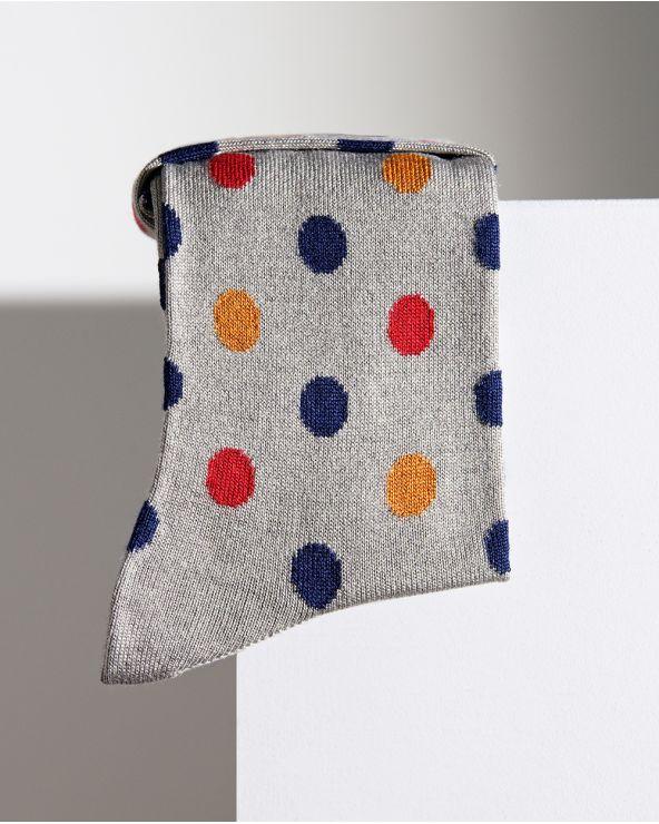 Chaussettes cachemire micromodal motif pois