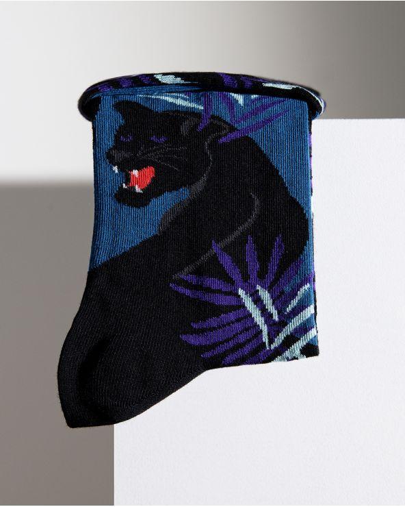 Chaussettes Coton Motif Panthère Noire