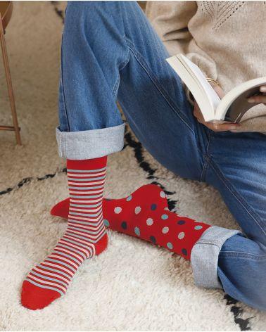 Dot pattern cashmere and micro modal socks