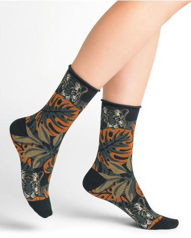 Chaussettes Coton Motif Tigres et Feuilles Bord Roulé