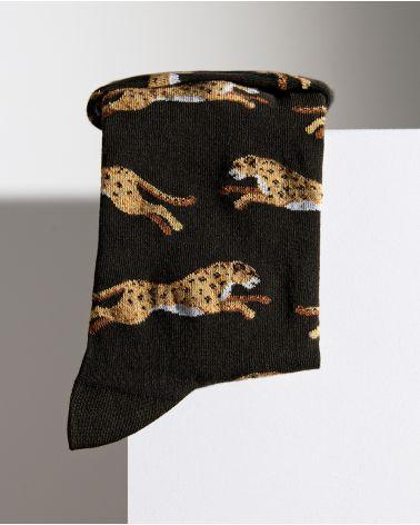 Chaussettes Coton Motif Panthères Bord Roulé