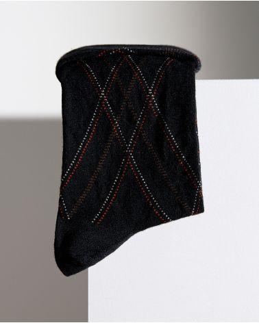 Chaussettes Laine Fine Motif Écossais