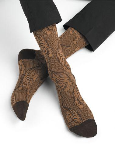 Chaussettes fil d'Écosse Motif Tigres