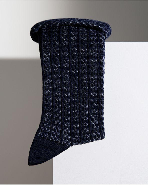 Chaussettes Laine à Côtes Bicolores