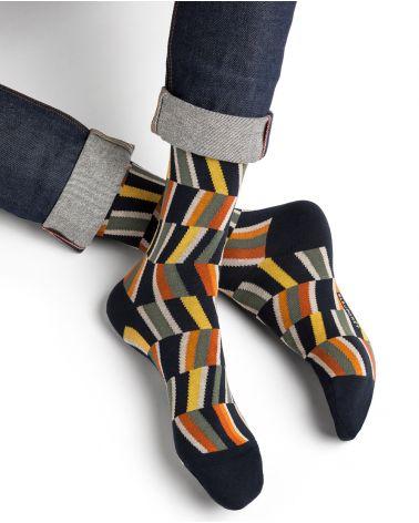 Multicoloured optical illusion cotton socks
