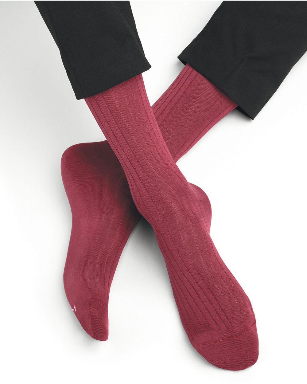 Ribbed socks in 100% mercerised cotton