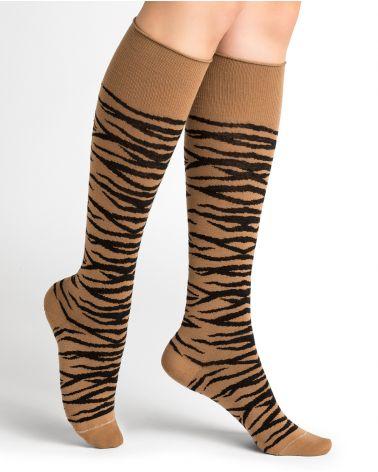 Medias a la rodilla de lana con rayas de tigre