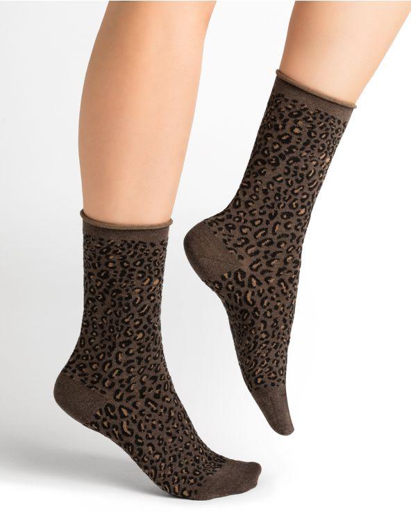 Leopard print wool socks