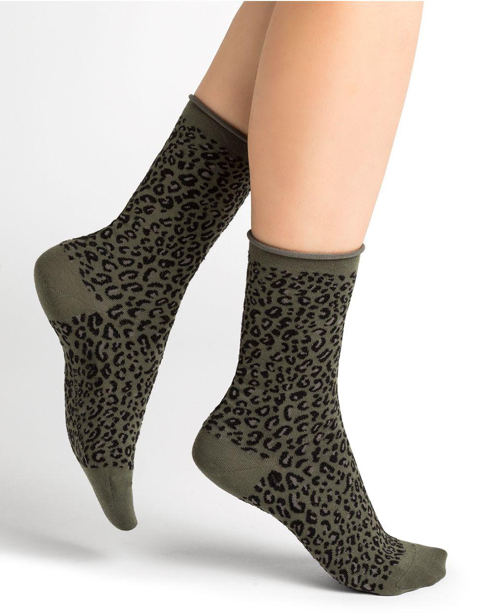 Chaussettes laine motif léopard