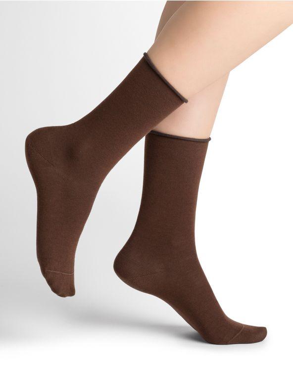 Roll-top pure cotton socks