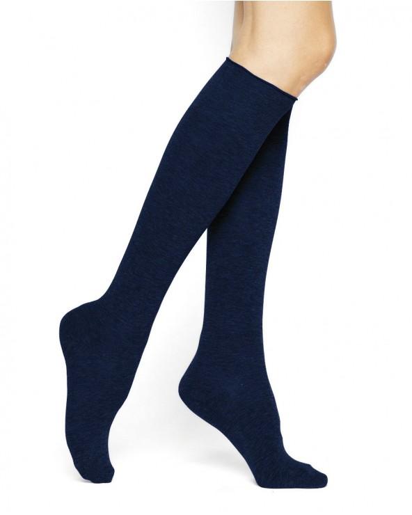 Plain pure cotton knee-high socks