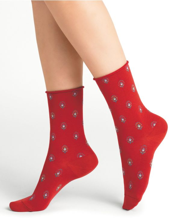 Floral pattern roll-top cotton socks