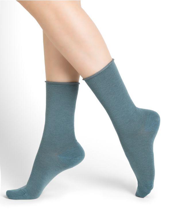 Calcetines de lana fina con borde enrollado