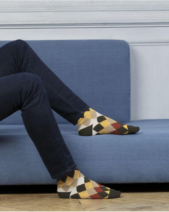 Chaussettes cachemire laine motif losanges