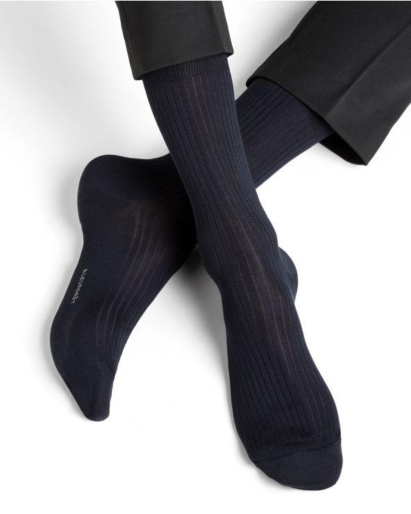 Chaussettes soie à côtes
